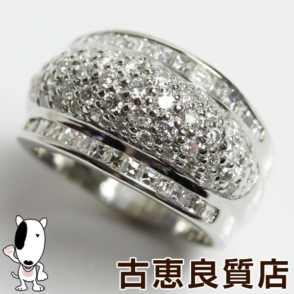 【MR1352】★【中古】Pt プラチナ リング 指輪 14.2g サイズ約17号 ダイヤ2.18ct 豪華なリング【質屋出品】【あす楽】