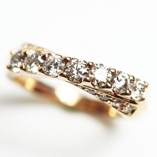【MR2109】★K18PG ピンクゴールド ダイヤモンドリングファッションリング レディース指輪D1.01 5.5g サイズ17号 【中古】【鑑別書】【質屋出品】【あす楽】
