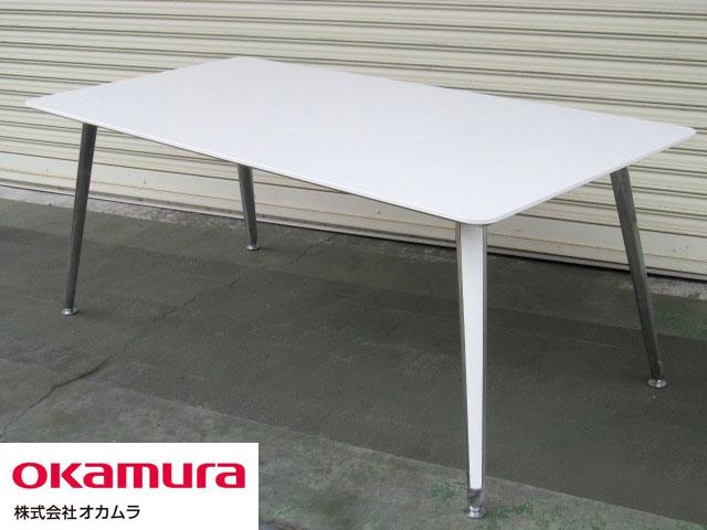 【中古品】オカムラ_プリシード ミーティングテーブル_W1800_ホワイト '16年製【中古オフィス家具】