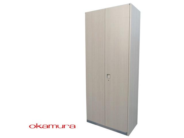 【SALE】【中古】オカムラ レクトライン ウッドタイプ 両開き 書庫 鍵付 H2150 鍵付【中古オフィス家具】