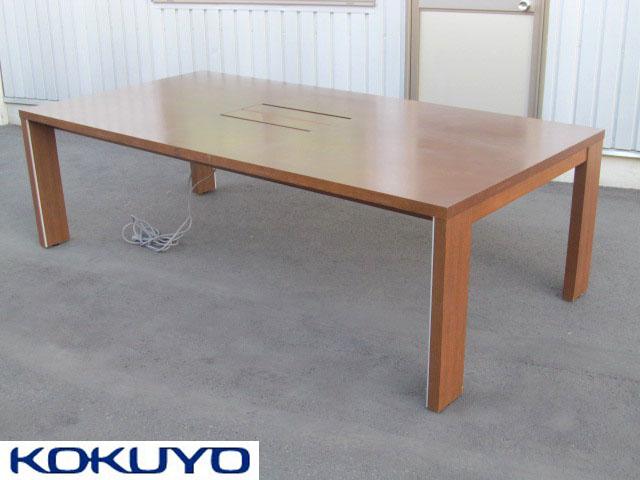 【中古品】コクヨ ベルティオ テーブル 会議 応接 W2400 ブラウン 木製【中古オフィス家具】