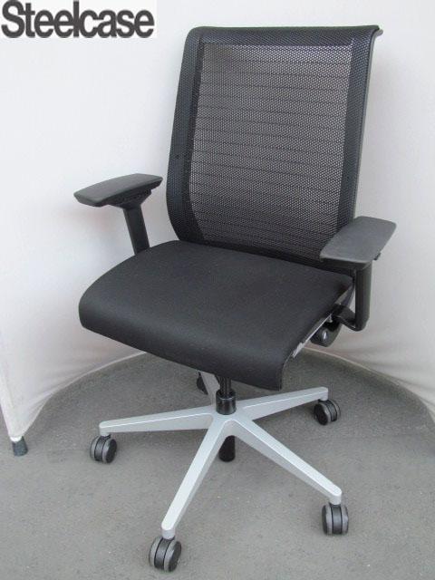 【中古】スチールケース シンクチェア 3Dニット ブラック 可動肘 黒 【中古オフィス家具】