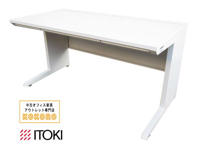 【中古】イトーキ CZR 平デスク W1400 H720 ホワイト 引き出し付【中古オフィス家具】