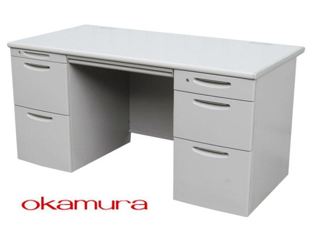 【中古】オカムラ SD-V 両袖デスク W1400 鍵付き【中古オフィス家具】