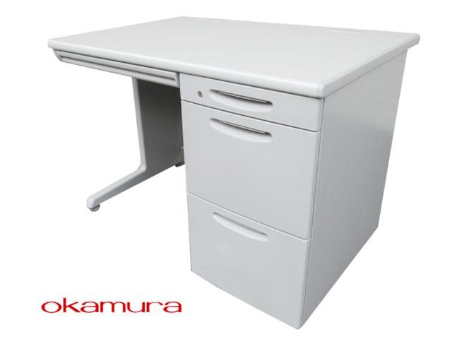 【中古】オカムラ SD-V 片袖デスク W1100 3段 鍵付【中古オフィス家具】