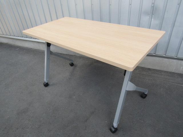 中古 オカムラ サイドフォールドテーブル フラプター折りテーブル W1200