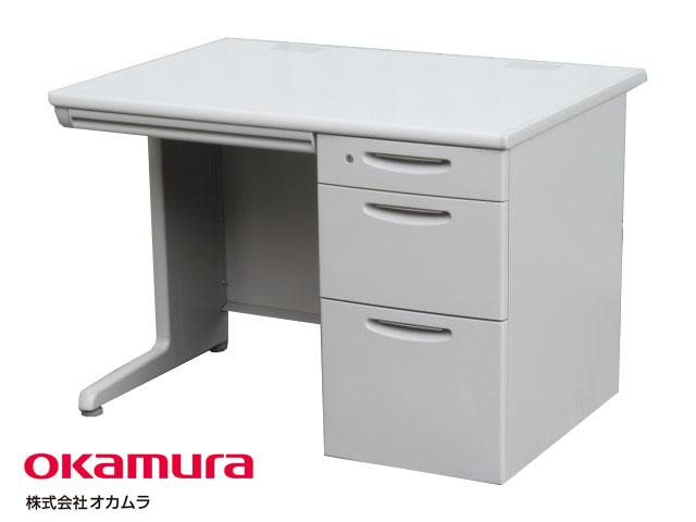 【中古】 オカムラ SD-V 片袖デスク ライトグレー 鍵付き W1000【中古オフィス家具】