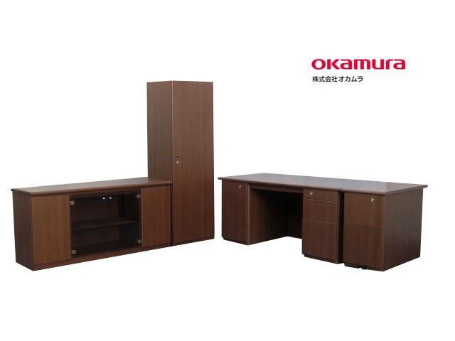 【中古】オカムラ DX-2 役員用家具 4点セット 木製 鍵付【中古オフィス家具】