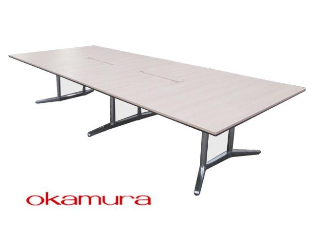 【中古品】オカムラ ラティオ2 ミーティングテーブル 大型 W4000×D1500×H720mm【中古オフィス家具】