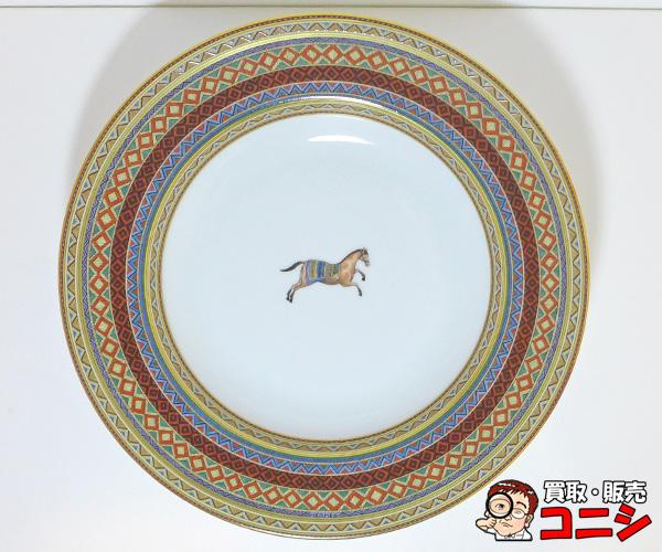 【神戸の質屋】【エルメス/HERMES】お皿 ディナープレート 磁器 シュヴァルドリアンシリーズ 23.5cm 柄/馬【送料無料】f1265b