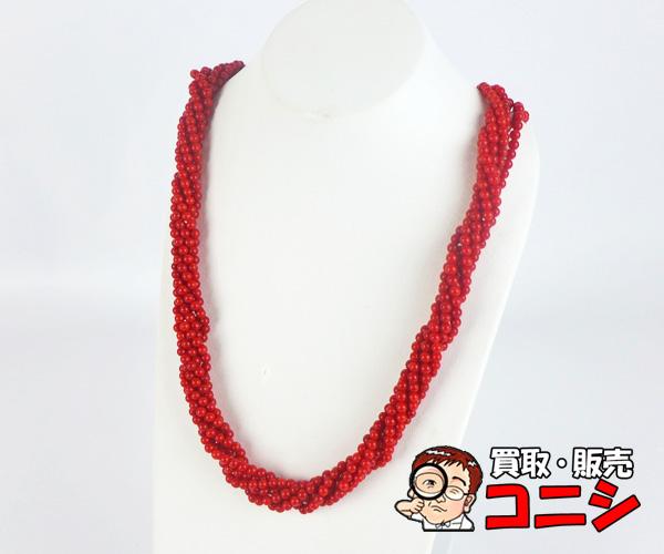 【神戸の質屋】K14サンゴ 6連ネックレス 3.5mm 鑑別書付【送料無料】g0067z