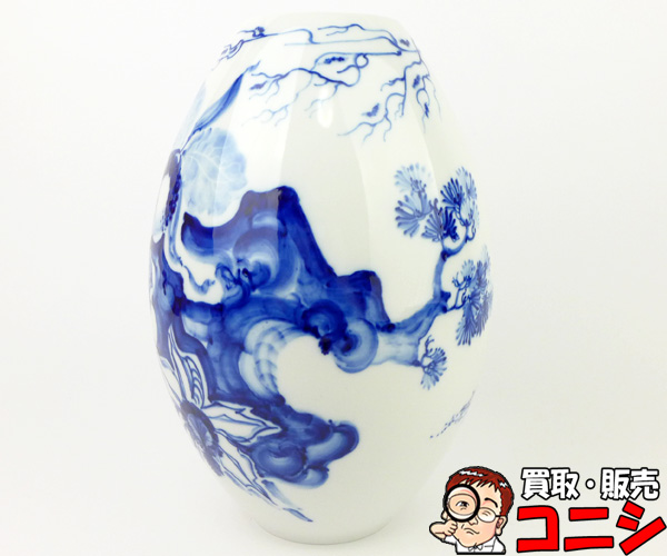 【神戸の質屋】【マイセン/MEISSEN】壺 陶磁器 ブルーオーキッド 花柄 白×紺 雑貨【送料無料】【中古品】f0755b