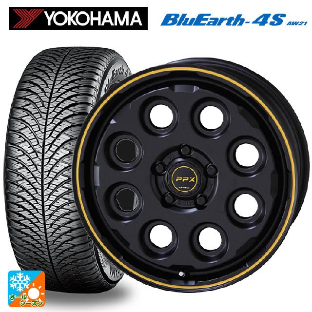 新到着 215/60R17 100V XL ヨコハマ ブルーアース4S AW21ピーピーエックス ミル8 セミグロスブラック×イエローライン 17-7J新品オールシーズンタイヤホイール4本セット, ムッシュマスノ アルパジョン 7646c3d8