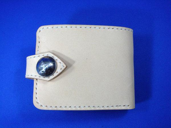 二つ折り財布 メンズ/コンチョ付BOXタイプ二つ折り財布