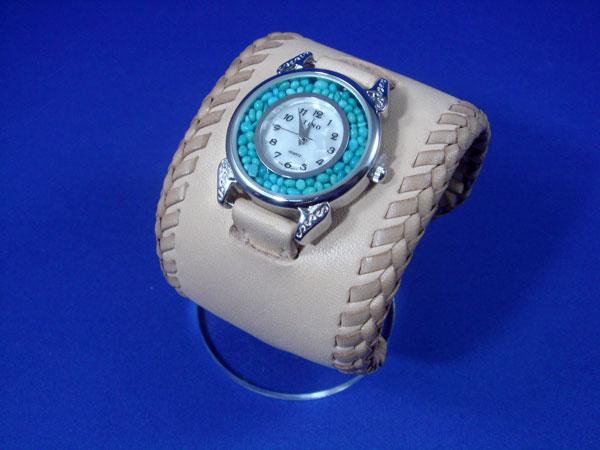 ターコイズ腕時計レース仕様 手縫い