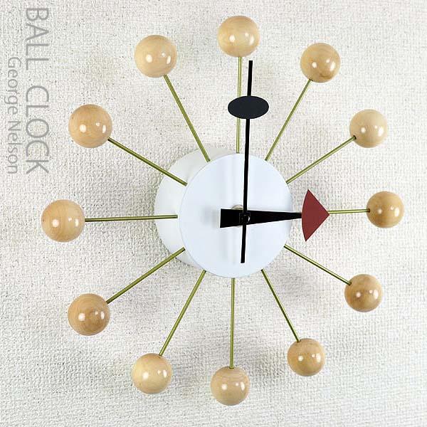 ジョージ・ネルソン デザイン ボールクロック ナチュラル 壁掛け時計 CL-09 NA 【北海道・沖縄・離島 発送不可】