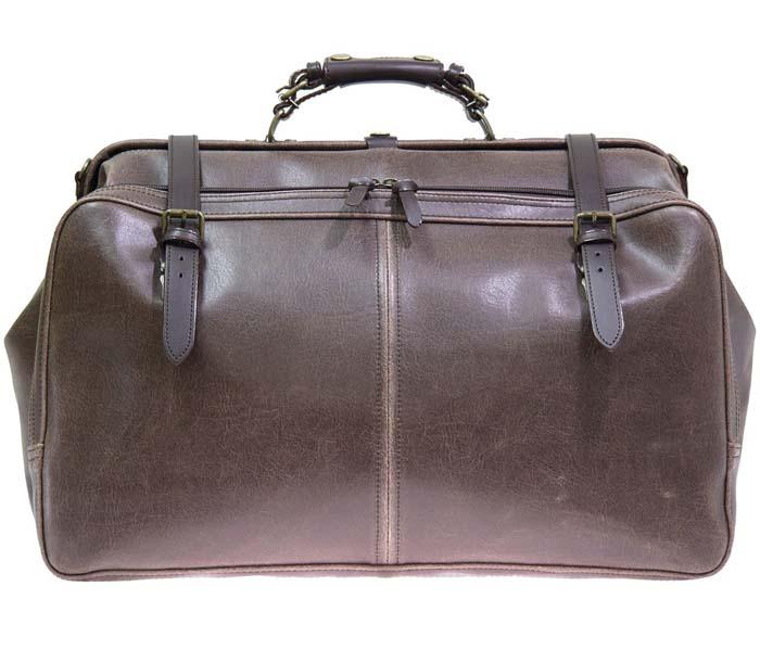 レトロオープンポケットダレスボストンバッグ 1484-01 チョコ 送料無料