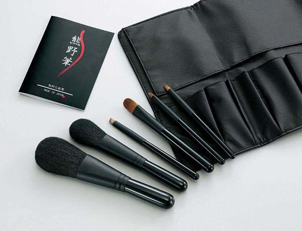 Kfi-K206 熊野化粧筆セット 筆の心 ブラシ専用ケース付き 送料無料 【北海道・沖縄・離島 発送不可】