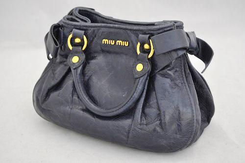 【中古】【ミュウミュウ】miumiu レザー ショルダー ハンド 2WAY バッグ パープル ネイビー