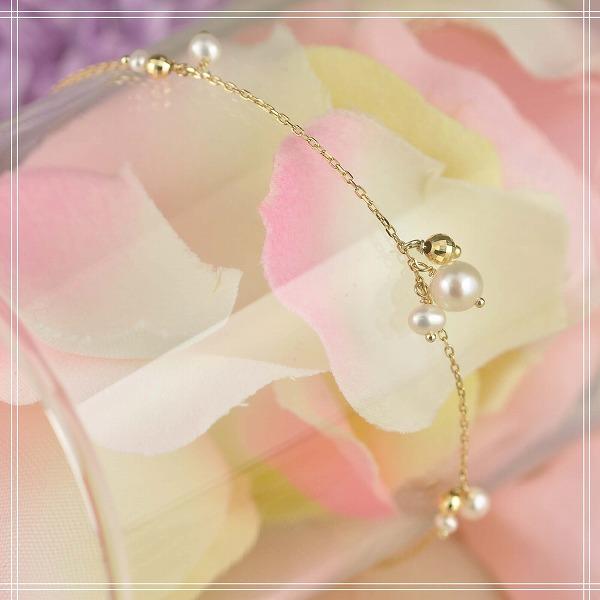 送料無料◇淡水パール K10 (10金) イエローゴールドブレスレット