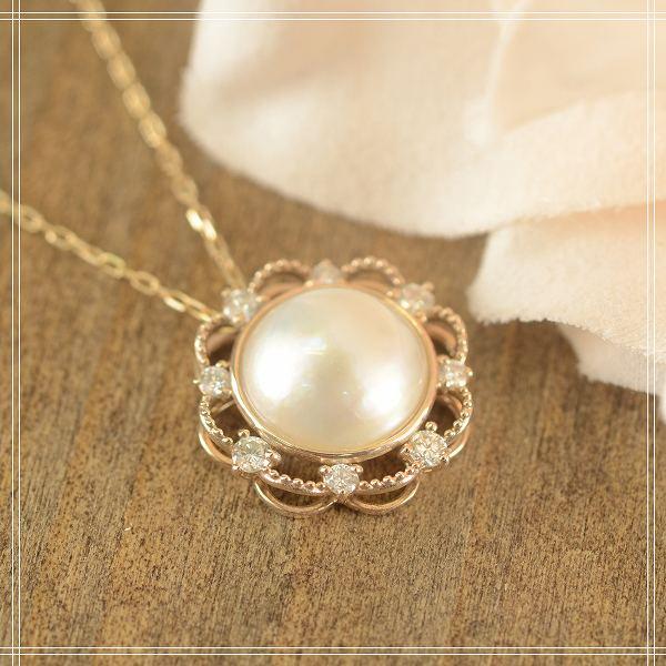 送料無料◇マベパール×ダイアモンド K10 (10金) フラワー イエローゴールドペンダントネックレス