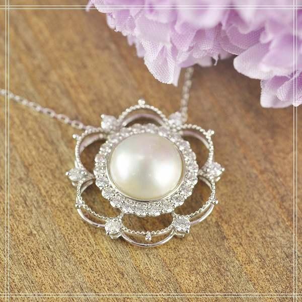 送料無料◇マベパール×ダイアモンド K10 (10金) フラワー ホワイトゴールドペンダントネックレス