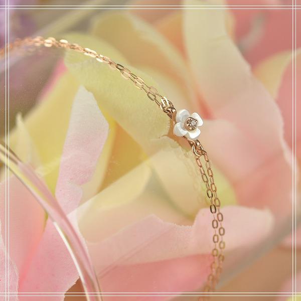 送料無料◇ホワイトシェル×ダイアモンド K10 (10金) ピンクゴールドブレスレット