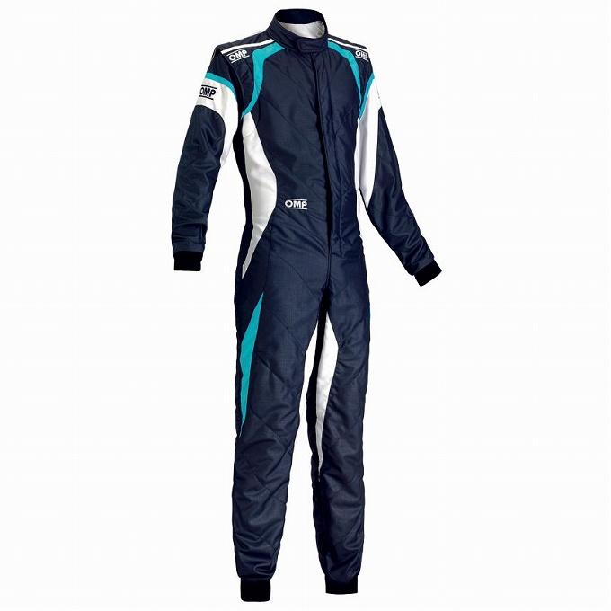 【OMP】ONE EVO レース スーツ レーシング ワン エボ ネイビーブルー×ホワイト×シアン