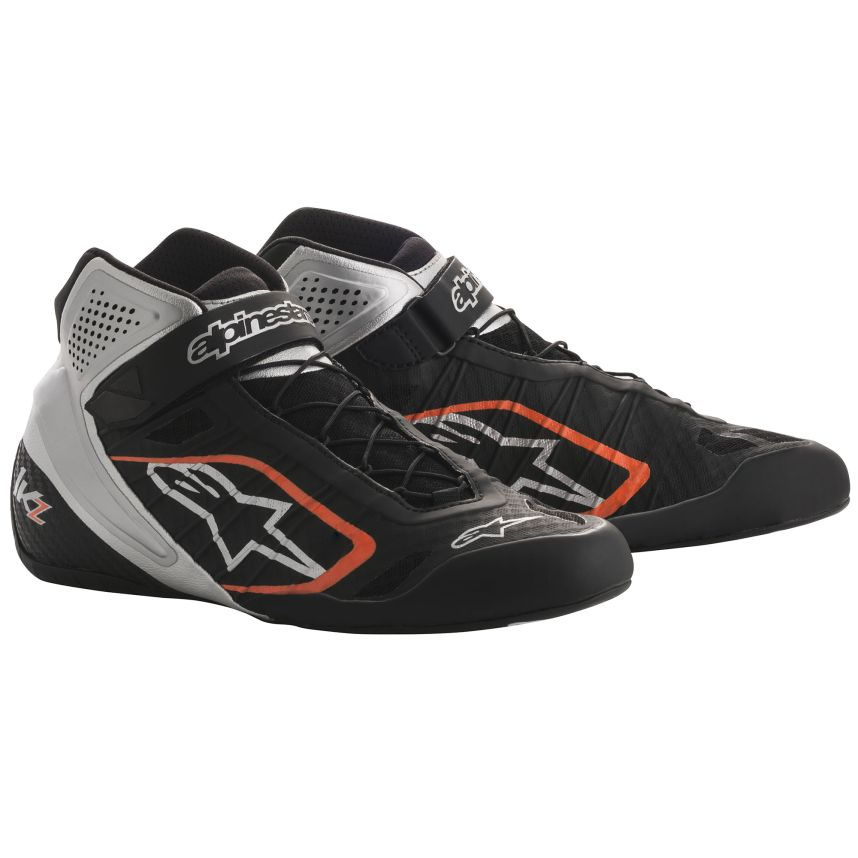 ☆【Alpinestars】Tech 1-KZ Kart Boots ブラック/シルバー/フルロオレンジ UK 8.5 /Eur 42.5