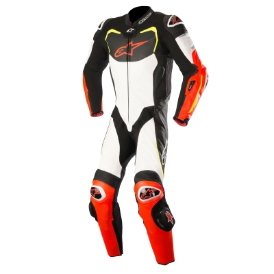 ☆【Alpinestars】Alpinestars GP Pro 1 Piece Leather Motorcycle Suit - Tech Air Bag Compatible Black / White / Red Fluro / Yellow Fluro | UK 36 / Eur 46