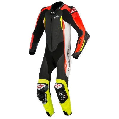 ☆【Alpinestars】Alpinestars GP Tech V2 1 Piece Leather Motorcycle Suit - Tech Air Bag Compatible Black / White / Red Fluo / Yellow Fluo | UK 46 / Eur 56