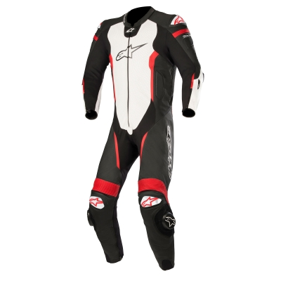 ☆【Alpinestars】Alpinestars Missile 1 Piece Leather Motorcycle Suit - Tech Air Bag Compatible Black / White / Red Fluro | UK 50 / Eur 60
