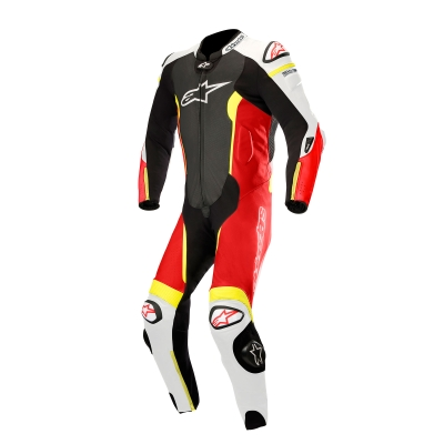 ☆【Alpinestars】Alpinestars Missile 1 Piece Leather Motorcycle Suit - Tech Air Bag Compatible Black / White / Red Fluro / Yellow Fluro | UK 36 / Eur 46