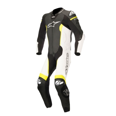 ☆【Alpinestars】Alpinestars Missile 1 Piece Leather Motorcycle Suit - Tech Air Bag Compatible Black / White / Yellow Fluro | UK 42 / Eur 52