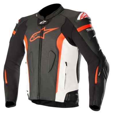 ☆【Alpinestars】Alpinestars Missile Leather Motorcycle Jacket - Tech Air Compatible Black / White / Red Fluro | UK 46 / Eur 56