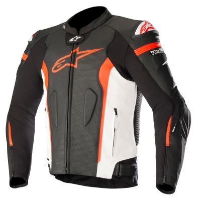 ☆【Alpinestars】Alpinestars Missile Leather Motorcycle Jacket - Tech Air Compatible Black / White / Red Fluro   UK 48 / Eur 58