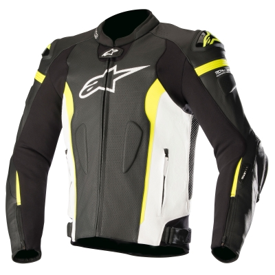 ☆【Alpinestars】Alpinestars Missile Leather Motorcycle Jacket - Tech Air Compatible Black / White / Yellow Fluro | UK 42 / Eur 52