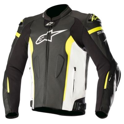 ☆【Alpinestars】Alpinestars Missile Leather Motorcycle Jacket - Tech Air Compatible Black / White / Yellow Fluro | UK 42 / Eur 52
