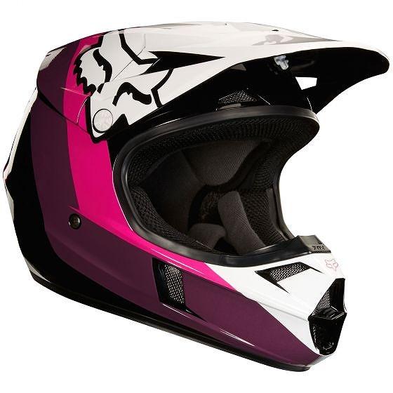 ☆【Fox】クロージング ユース V1 ハリン モトクロスヘルメット - ブラック/ピンク M(49cm-50cm)