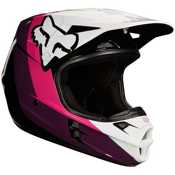 ☆【Fox】クロージングV1 HALYNモトクロスヘルメット - ブラック/ピンク XL(61cm-62cm)