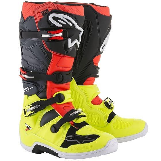 ☆【Alpinestars】Tech 7 Motocross Boot Yellow Fluro / Red Fluro / Grey / Black
