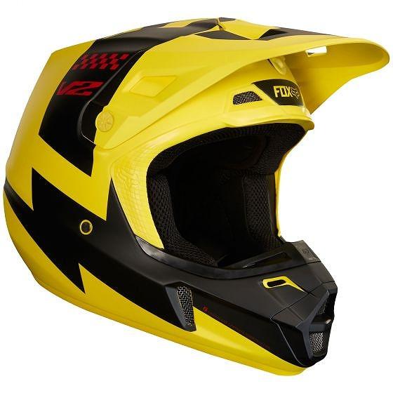 ☆【Fox】服V2 MASTARモトクロスヘルメット - イエロー S (55-56cm)