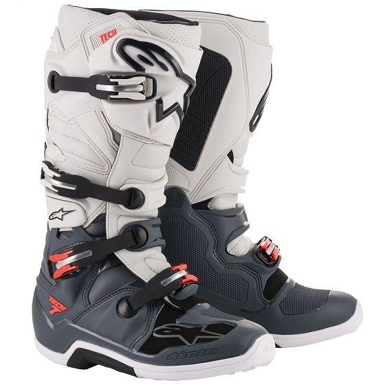 ☆【Alpinestars】Tech 7 Motocross Boot Dark Grey / Light Grey / Red Fluro