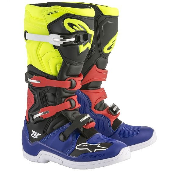 ☆【Alpinestars】Tech 5 Motocross Boot Blue / Black / Yellow Fluro / Red