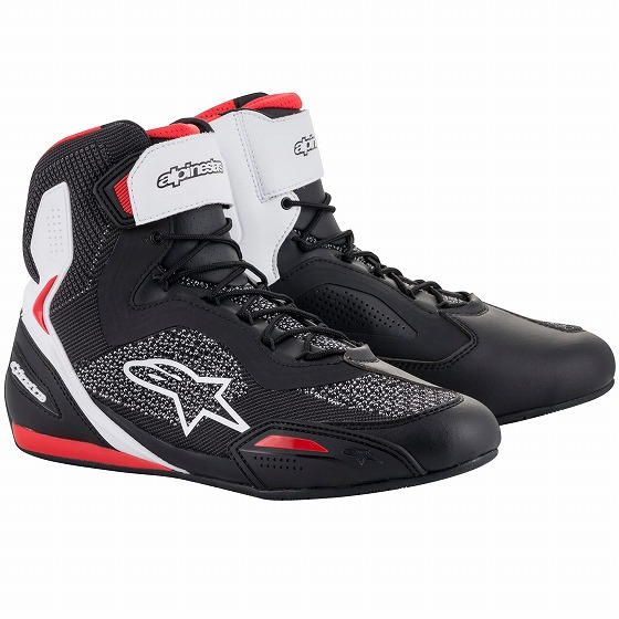 ☆【Alpinestars】Faster 3 Rideknitのオートバイの靴 ブラック/ホワイト/レッド
