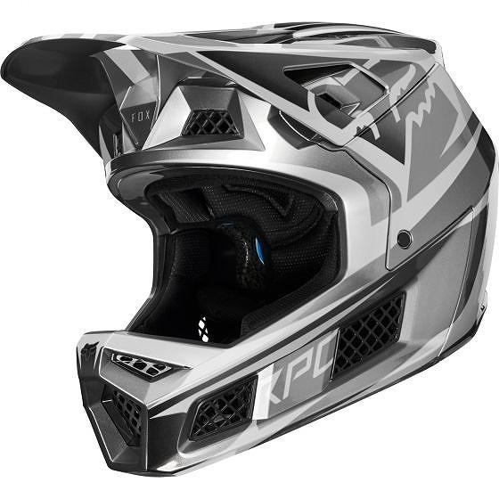 ☆【Fox Clothing】Rampage Proカーボンヘルメット Beast Metallic Silver | L