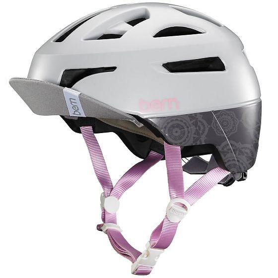 ☆【Bern】パーカーレディースヘルメット Satin Light Grey   L