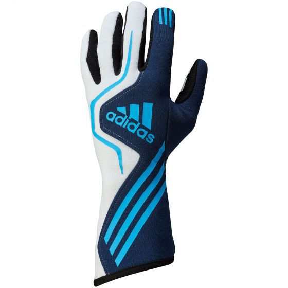 【Adidas】 RS Race レース グローブ Gloves(FIA 8856-2000公認)ホワイト×ネイビー×ブルー 軽量素材