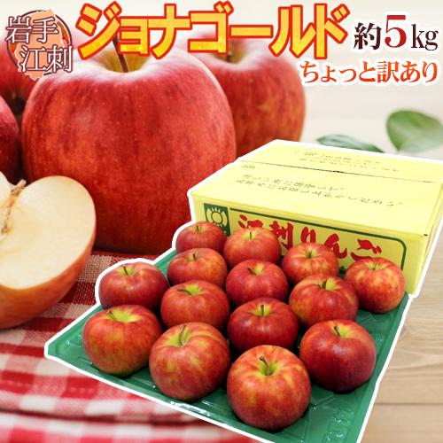 """しっかり 甘く 適度に 酸っぱい 濃厚リンゴ セール特価 岩手県江刺産 お気にいる """"ジョナゴールド"""" りんご 約5kg 送料無料 10月下旬~11月 予約 12~16玉 ほんのちょっと訳あり"""