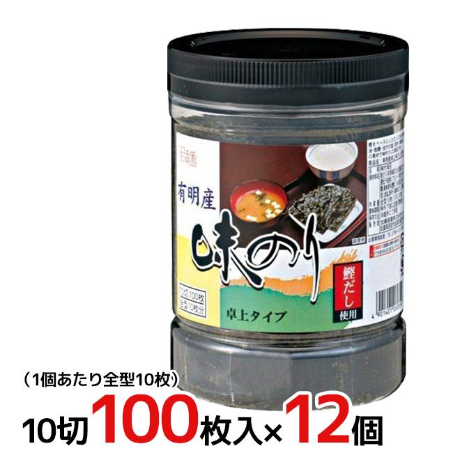 """加藤産業 """"有明産 卓上味のり"""" 10切100枚入×12個(1ケース)"""